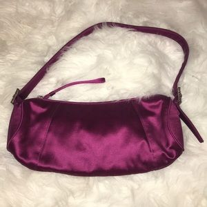 Ann Taylor purple satin handbag